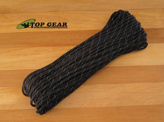 Atwood Rope Manufacturing 550 Paracord Rope - Black with Reflective Grey Tracer RG1059H