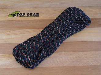 Atwood Rope Manufacturing 550 Paracord Rope - Black with Neon Orange Tracer RG1082H