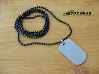 Military Beaded Ball Stainless Steel Neck Chain - Black 4246B