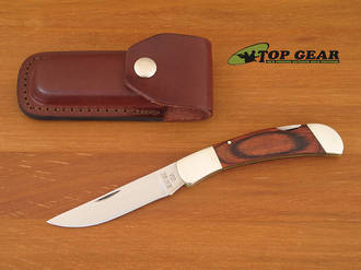 Bear and Son Lockback Hunting Knife, Rosewood Handle, Leather Sheath - 262R