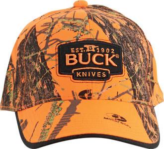 Buck Logo Baseball Hunting Cap, Mossy Oak Blaze Orange Camo - 89054