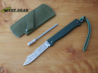 Douk-Douk Pocket Knife with Leather Sheath and Sharpening Steel, Green Handle - 815GMCOLG