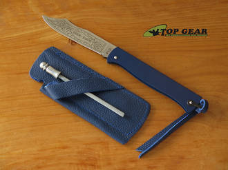 Douk-Douk Pocket Knife with Leather Sheath and Sharpening Steel, Blue Handle - 815GMCOLB