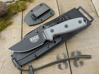 Esee 3 Knife with Molle Sheath System, Modified Pommel, Black - ESEE-3P-MB-B