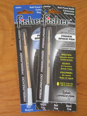 Fisher Space Pen Ball Point Refills - Black, Blue, Red or Green