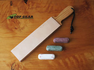 "Garos Goods 2"" Double-Sided Leather Paddle Strop with Sharpening Compounds"