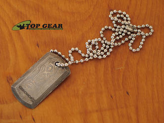 Grindworx Damascus Steel Dog Tag with Bead Chain - 20812