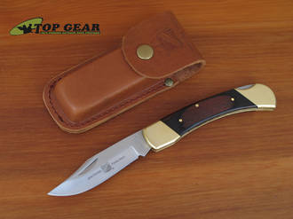 John Primble Brown Wood Lockback Pocket Knife - JP30 0100BWL