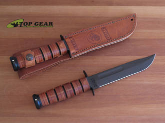 Ka-Bar US Marine Corps Fighting Knife with Leather Sheath, Fine Edge - 1217