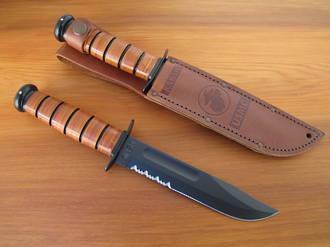 Ka-Bar US Marine Corps Fighting Knife with Leather Sheath, Serrated Edge - 1218