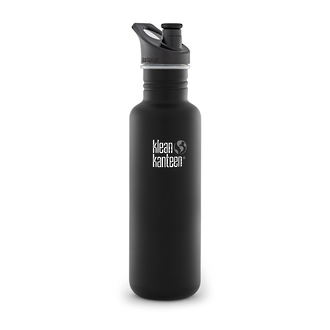 Klean Kanteen Classic Stainless Steel Bottle with Sports Cap, Black -  27Oz – 800ml-K27CPPS-BE-A