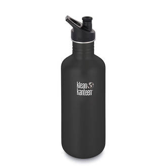 Klean Kanteen Classic Stainless Steel Bottle with Sports Cap 3.0 - 1.2 L Shale Black-40 Oz – 1182 ml