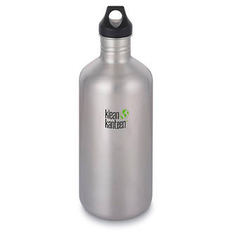 Klean Kanteen Classic Stainless Steel Bottle, 64 oz. (1.9L) with Loop Cap, Brushed Finish - K64CPPL-BS