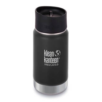 Klean Kanteen Wide Vacuum Insulated Stainless Steel Bottle with Cafe Cup 2.0 - 12 Oz. Shale Black