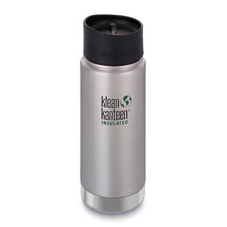 Klean Kanteen Wide Vacuum Insulated Stainless Steel Bottle with Cafe Cup 2.0 - Brushed Stainless