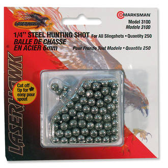 "Marksman 1/4"" - 6.5 mm Steel Hunting Shot for Slingshot - 250 Qty 3100"
