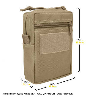 Maxpedition Vertical GP Low Profile Pouch - Khaki 242K