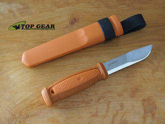 Mora Kansbol Fixed Blade Knife, 12C27 Stainless Steel, Burnt Orange - 02342