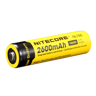 Nitecore NL186 Rechargeable 18650 Li-on Battery with Protection Circuit - 2600mAh