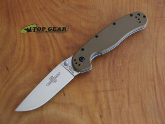 Ontario Knife Rat M1 Folding Knife, Fine Edge, Coyote Brown - 8848CB