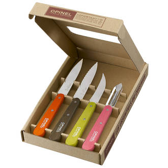 Opinel Kitchen Essentials 4-Piece Small Kitchen Knife Set, 50's Colours - 01452