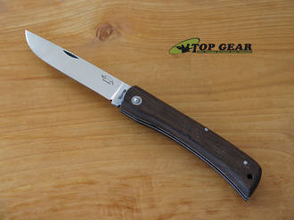 Otter Knives Hippekniep Large Pocket Knife, Carbon Steel, Smoked Oak Handle - 143