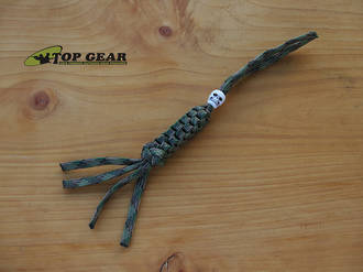 Paracord 550 Knife Lanyard with Skull Bead, Woodland Camo - PLWC