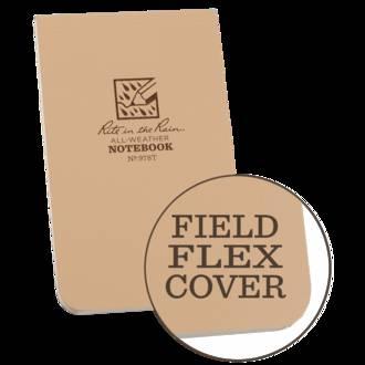 "Rite In The Rain 3"" x 5"" All-Weather Top Bound Field-Flex Notebook - Tan 978T"