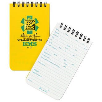 Rite in the Rain All-Weather Top Spiral EMS Notebook, Yellow - 112