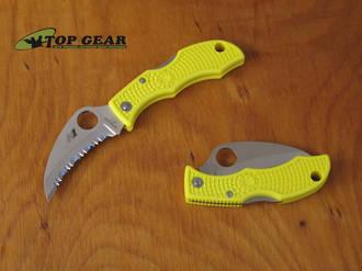 Spyderco Ladybug 3 Hawkbill Salt Knife , H-1 Stainless Steel - LYLS3HB