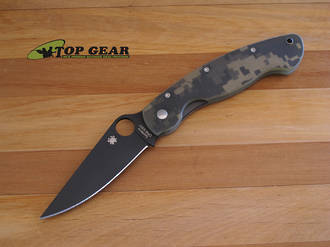 Spyderco Military Tactical Folding Knife, Digital Camo, CPM S30V Steel -  C36PCMOBK