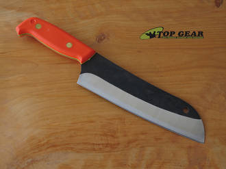 Svord Kiwi Santoku Chef's Knife with High Carbon Steel Blade, Orange Handle - SKU