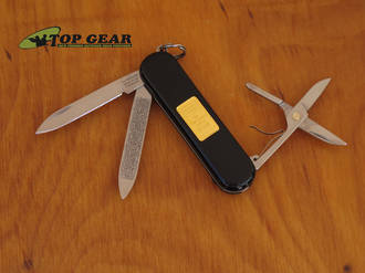 Victorinox Classic with genuine Gold Ingot Pocket Knife, Black - Model 53013