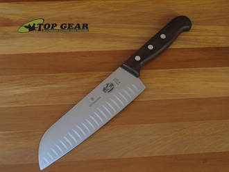 Victorinox Santoku Knife with Hollow Edge, Rosewood Handle - 6.8520.17