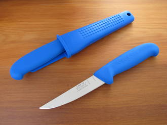 Victory Rabbiter's Boning Knife with Sheath, Blue Progrip Handle - 3/304/10/200