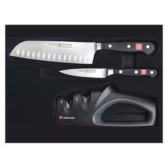 Wusthof Classic 2-Piece Santoku Knife Set with 2-Stage Sharpener - 9608-6