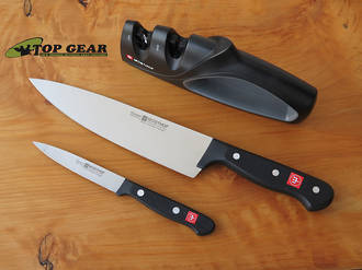 Wusthof Gourmet 3-Piece Knife Set: includes Cooks Knife, Paring Knife and Sharpener - 9654-1