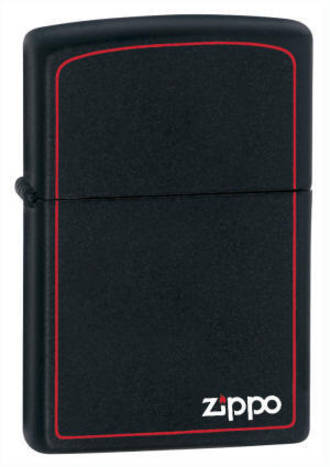 Zippo Windproof Lighter Black Matte with Zippo Logo and red Border - 218ZB