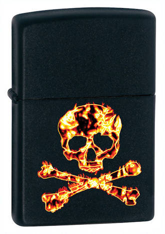 Zippo Fiery Skull and Crossbones Lighter, Black Matte - 28044