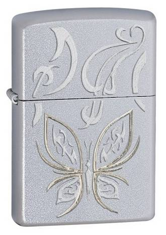 Zippo Golden Butterfly Windproof Lighter - Chrome 24339