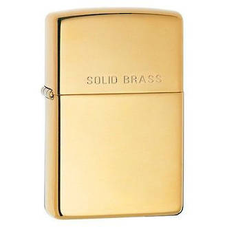Zippo High Polished Brass Windproof Lighter with Solid Brass Logo - 254 REG