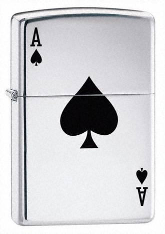 Zippo Lucky Ace Windproof Lighter, High Polished Chrome - 24011