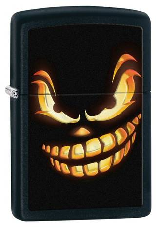 Zippo Scary Jack O Lantern Windproof Lighter, Black Matte - 28439