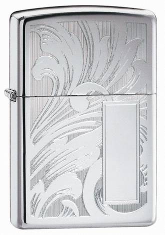 Zippo Scroll Design Windproof Lighter, High Polished Chrome - 21138