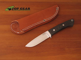 Bark River Classic Drop-Point Hunter Knife, Green Canvas Handle - 02-125M-GC