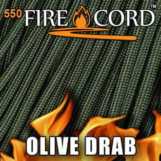 Live Fire Gear Firecord 550 Paracord with Firestarter - Olive Drab 100ft