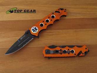 MTech USA EMR Emergency Rescue Knife with Orange Handle - MT-551EMO