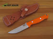 Bark River Bravo Gunny Fixed Blade Knife, A-2 Tool Steel, Orange G-10 Handle