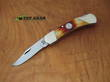 Bear and Son 2.75 Inch Red Stag Bone Lockback Folder - CRSB05