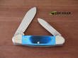 Case Canoe Pocket Knife, Caribbean Blue Jigged Bone Handle - 25598